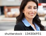 portrait of businesswoman... | Shutterstock . vector #134306951