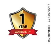 one year warranty logo with red ... | Shutterstock .eps vector #1343070047