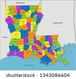 colorful louisiana political... | Shutterstock .eps vector #1343086604