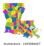 colorful louisiana political... | Shutterstock .eps vector #1343086607