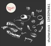 hand drawn white chalk food... | Shutterstock .eps vector #1343096861