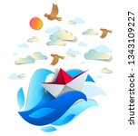 origami paper ship toy swimming ... | Shutterstock .eps vector #1343109227