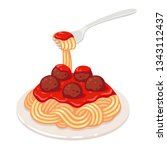 spaghetti with tomato sauce and ... | Shutterstock .eps vector #1343112437
