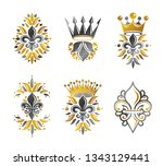 royal symbols lily flowers ...   Shutterstock .eps vector #1343129441