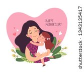 happy mother s day card. cute... | Shutterstock .eps vector #1343135417
