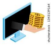 illustration hand with money...   Shutterstock . vector #1343139164