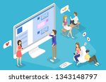 young happy people chatting...   Shutterstock . vector #1343148797