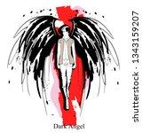 angel girl. dark angel. vector...   Shutterstock .eps vector #1343159207