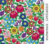floral seamless polish folk art ... | Shutterstock .eps vector #1343160314