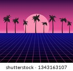 synth wave retro grid... | Shutterstock .eps vector #1343163107