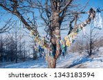 colorful ribbons tied around... | Shutterstock . vector #1343183594