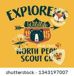 cute wildlife explorer scout... | Shutterstock .eps vector #1343197007