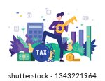happy business man holding a... | Shutterstock .eps vector #1343221964