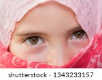 young girl with a veil covering ... | Shutterstock . vector #1343233157