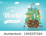 travel composition with famous... | Shutterstock .eps vector #1343237264