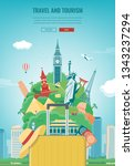 travel composition with famous... | Shutterstock .eps vector #1343237294