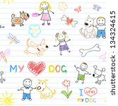 children's and dogs. seamless... | Shutterstock .eps vector #134324615