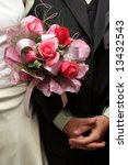 wedding couple with bouquet... | Shutterstock . vector #13432543