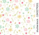 vector floral pattern in doodle ... | Shutterstock .eps vector #1343279201