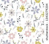 vector floral pattern in doodle ... | Shutterstock .eps vector #1343279204