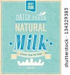 vintage milk card. vector...