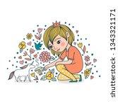 little princess tames the... | Shutterstock .eps vector #1343321171