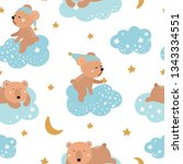 cute seamless pattern with... | Shutterstock .eps vector #1343334551