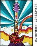vintage music poster template...   Shutterstock .eps vector #1343334674