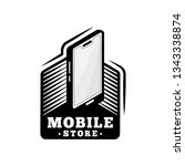 mobile store logo. vector and... | Shutterstock .eps vector #1343338874