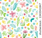 vector seamless summer pattern. ... | Shutterstock .eps vector #1343341847