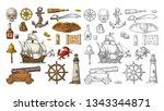 set pirate adventure. anchor ... | Shutterstock .eps vector #1343344871