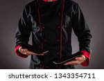 closeup of chef holding empty... | Shutterstock . vector #1343354711