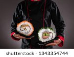 closeup of master chef holding... | Shutterstock . vector #1343354744
