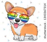 cool cartoon cute puppy corgi... | Shutterstock .eps vector #1343367314
