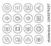 video player line icons  vector