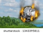 danger of climate change and... | Shutterstock . vector #1343395811