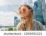 young hipster woman having fun... | Shutterstock . vector #1343431121