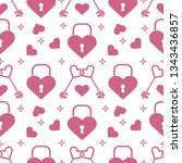 seamless pattern with hearts ... | Shutterstock .eps vector #1343436857