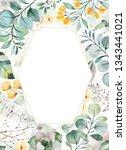 watercolor green illustration... | Shutterstock . vector #1343441021