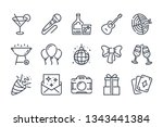 party related line icon set....