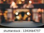 selective empty wooden table in ... | Shutterstock . vector #1343464757