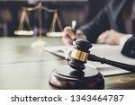 judge gavel with justice... | Shutterstock . vector #1343464787