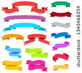 set of colorful ribbons and... | Shutterstock .eps vector #1343468354