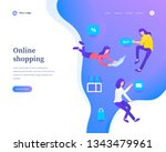online shopping concept  flying ... | Shutterstock .eps vector #1343479961
