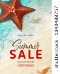 summer sale flyer template.... | Shutterstock .eps vector #1343488757