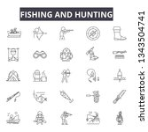 fishing and hunting line icons... | Shutterstock .eps vector #1343504741