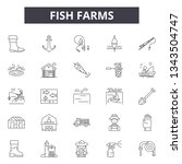 fish farms line icons for web... | Shutterstock .eps vector #1343504747