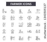 farmer line icons for web and... | Shutterstock .eps vector #1343505137