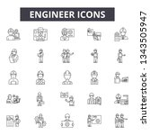 engineer line icons for web and ... | Shutterstock .eps vector #1343505947
