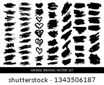 set of black paint  ink brush... | Shutterstock .eps vector #1343506187